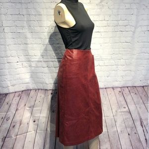 NWOT! Ruby Rd. Faux Leather Red Midi Skirt Size 8